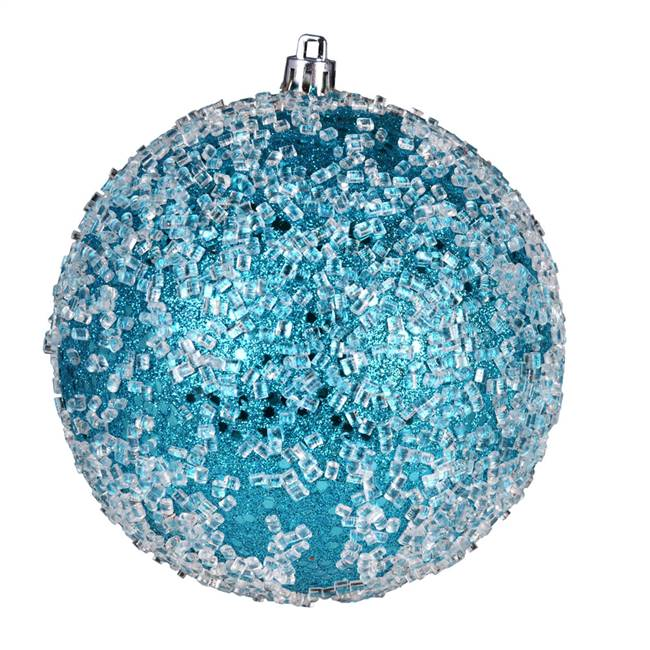 "4.75"" Turquoise Glitter Hail Ball 4/Bag"