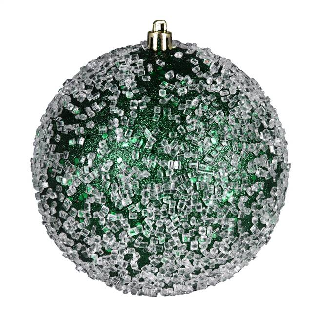 "4.75"" Emerald Glitter Hail Ball 4/Bag"