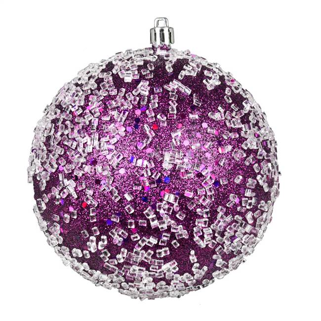 "4.75"" Plum Glitter Hail Ball 4/Bag"