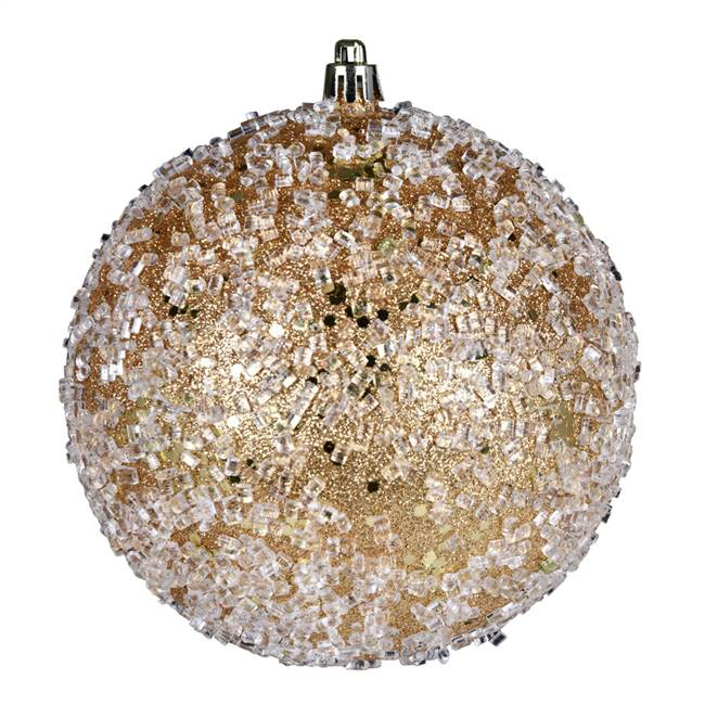 "4.75"" Copper/Gold Glitter Hail Ball 4/Bg"
