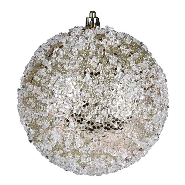 "4.75"" Champagne Glitter Hail Ball 4/Bag"