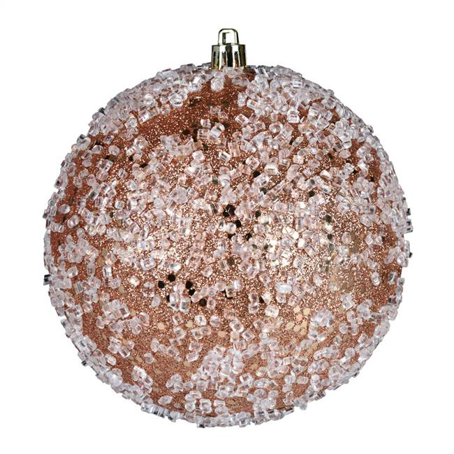 "4.75"" Rose Gold Glitter Hail Ball 4/Bag"