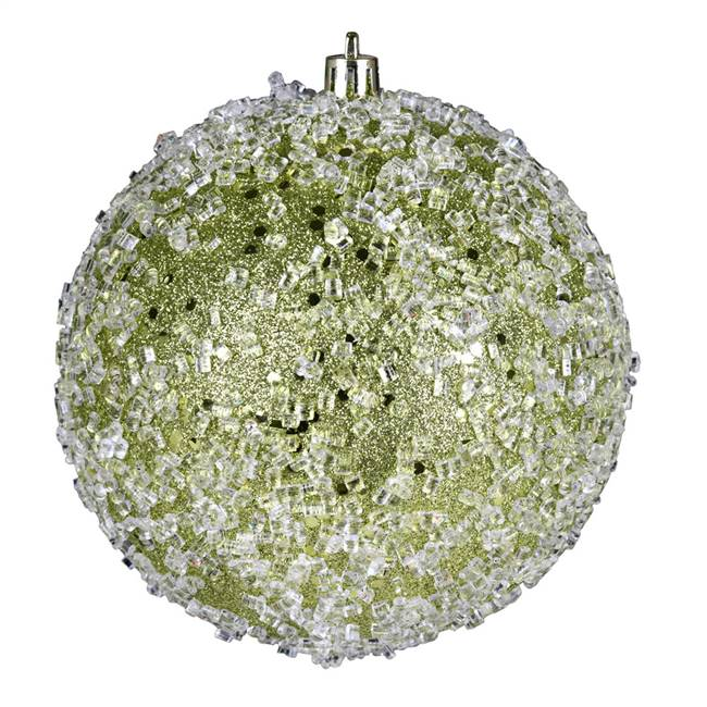 "4.75"" Lime Glitter Hail Ball 4/Bag"
