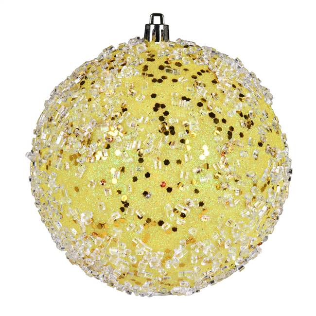"4.75"" Yellow Glitter Hail Ball 4/Bag"