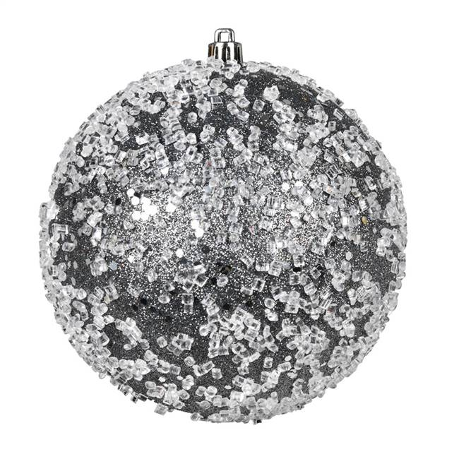 "4.75"" Pewter Glitter Hail Ball 4/Bag"