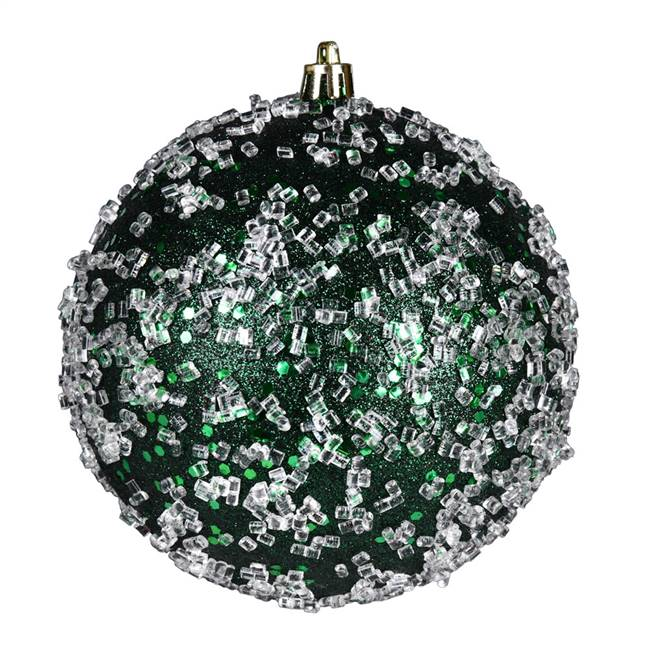 "6"" Midnight Green Glitter Hail Ball 4/Bg"