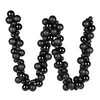 6' Black Asst Orn Ball Garland
