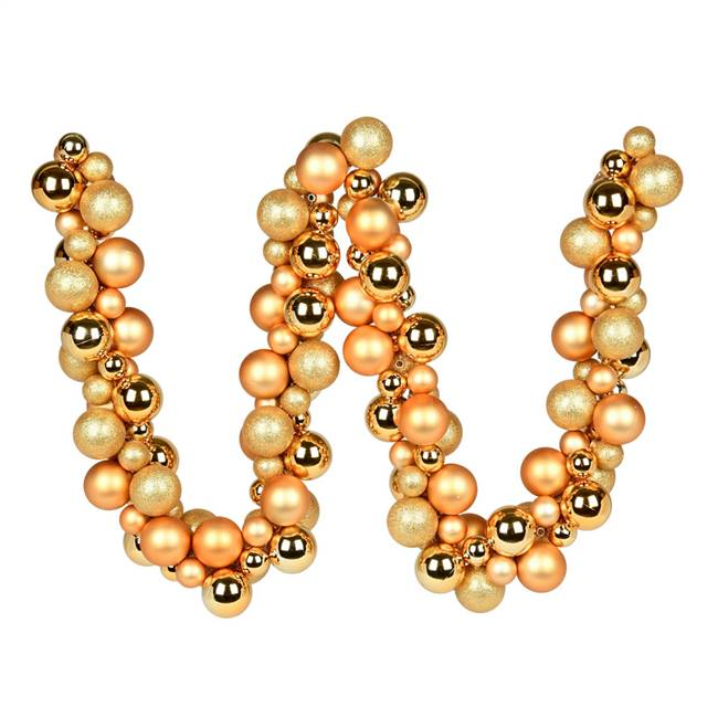 6' Copper/Gold Asst Orn Ball Garland