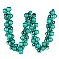 6' Teal Asst Orn Ball Garland