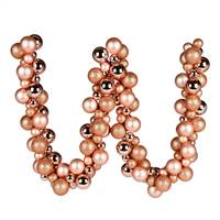 6' Rose Gold Asst Orn Ball Garland