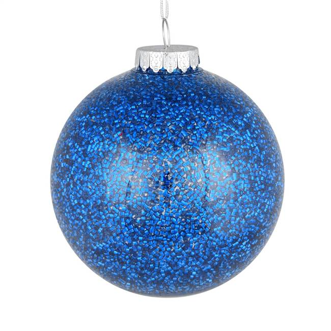"4"" Blue Tinsel Clear Ball On 6/Bag"