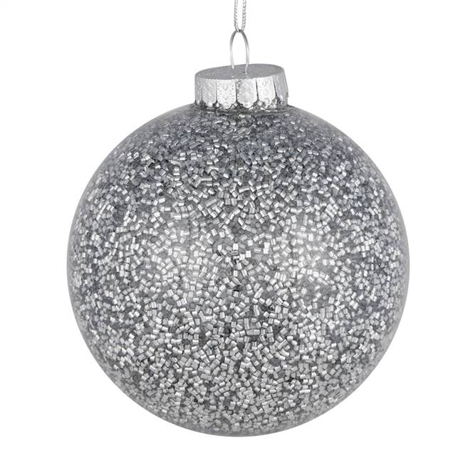 "4"" Silver Tinsel Clear Ball On 6/Bag"