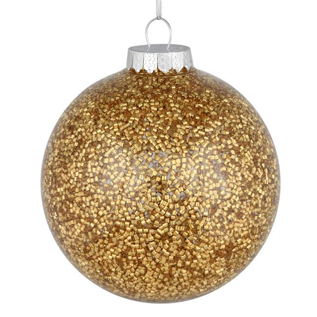 "4"" Gold Tinsel Clear Ball On 6/Bag"