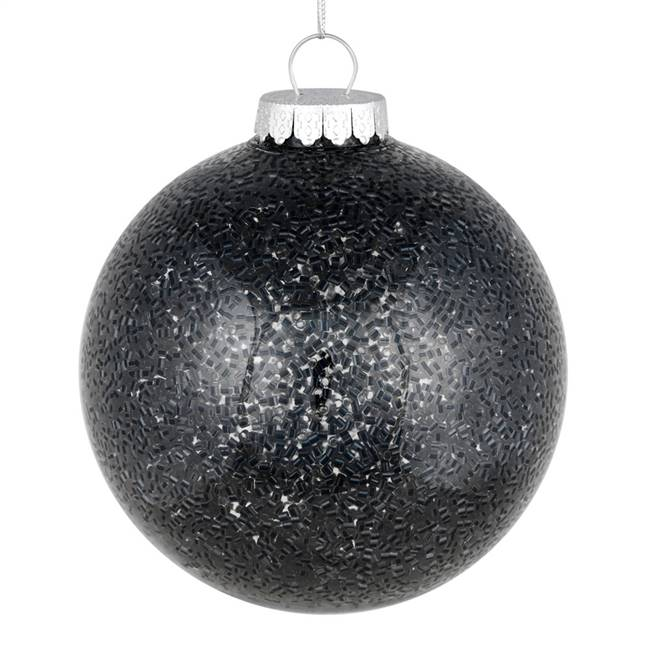 "4"" Black Tinsel Clear Ball On 6/Bag"