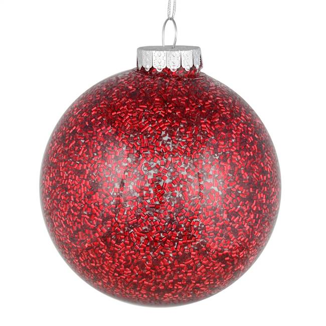 "4"" Wine Tinsel Clear Ball On 6/Bag"