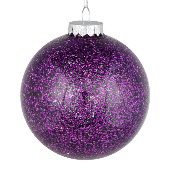 "4"" Plum Tinsel Clear Ball On 6/Bag"