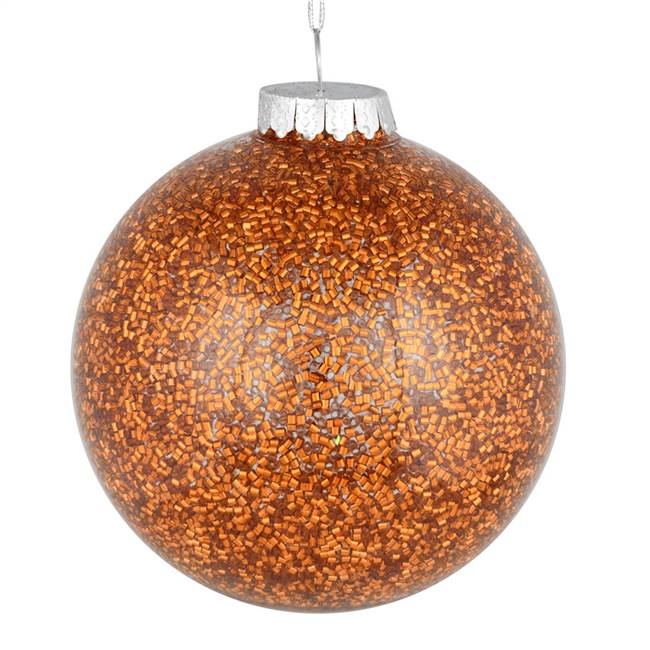"4"" Copper Tinsel Clear Ball On 6/Bag"