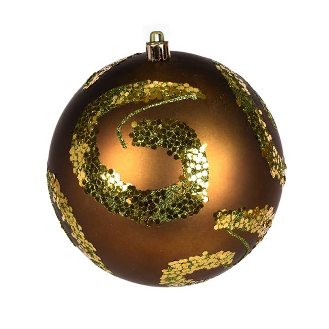 "6"" Olive Matte Sequin Ball 4/Bag"