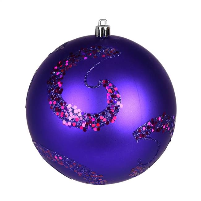 "6"" Purple Matte Sequin Ball 4/Bag"
