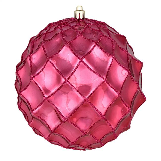 "4"" Berry Red Shiny Form Ball 6/Bag"