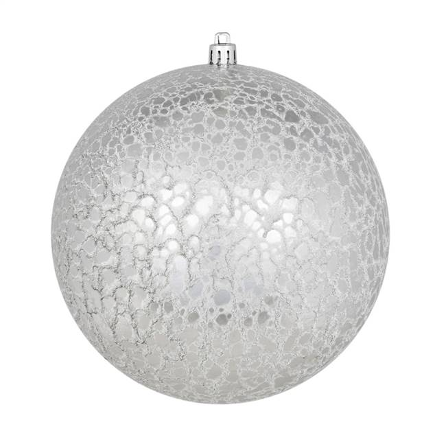 "4"" Silver Crackle Ball Ornament 6/Bag"