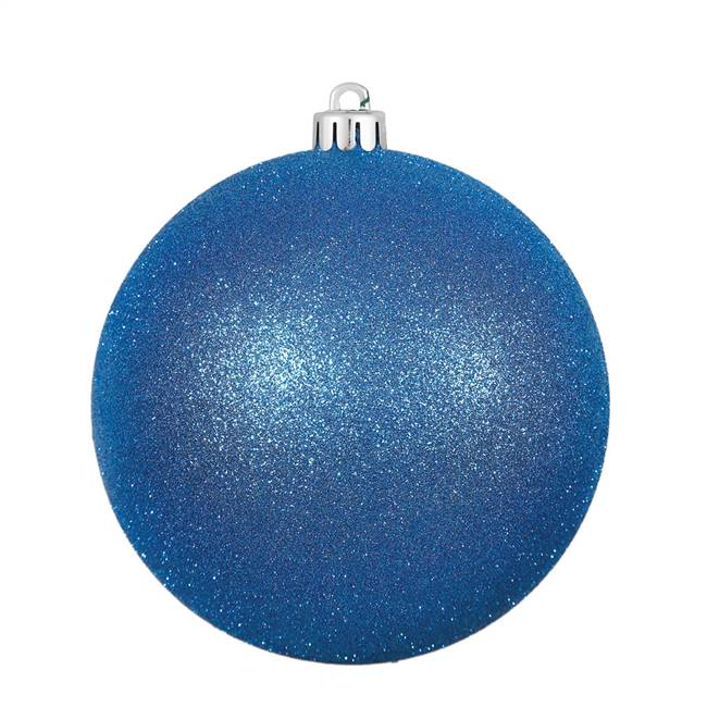 "4"" Blue Glitter Ball Drilled 6/Bag"