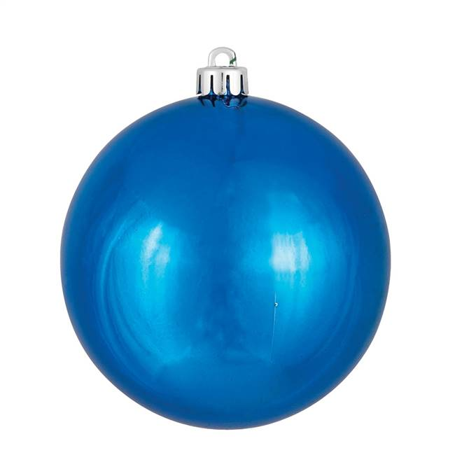 "4"" Blue Shiny Ball UV Drilled 6/Bag"