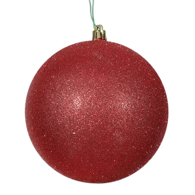 "4"" Red Glitter Ball Drilled 6/Bag"