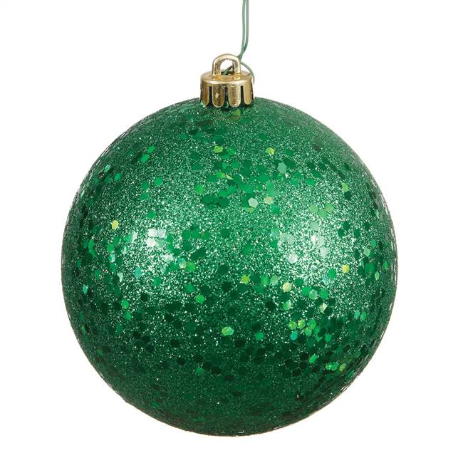 "4"" Green Sequin Ball Drilled 6/Bag"
