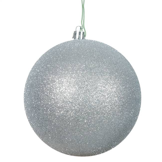 "4"" Silver Glitter Ball Drilled 6/Bag"