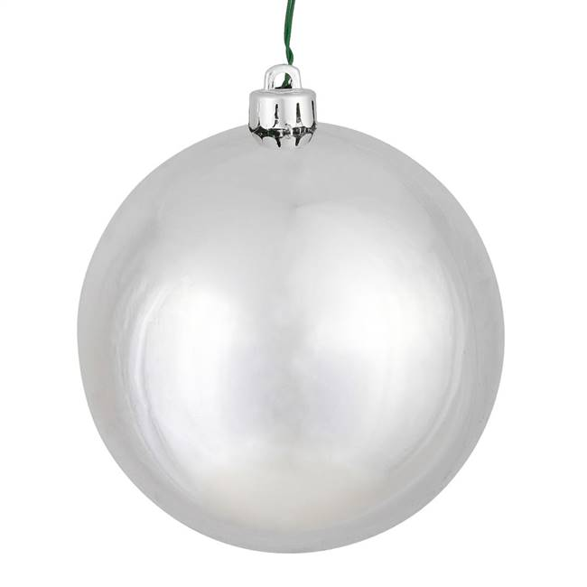 "4"" Silver Shiny Ball UV Drilled 6/Bag"