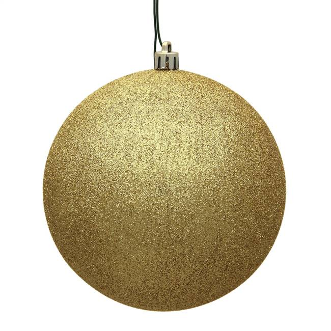 "4"" Gold Glitter Ball Drilled 6/Bag"