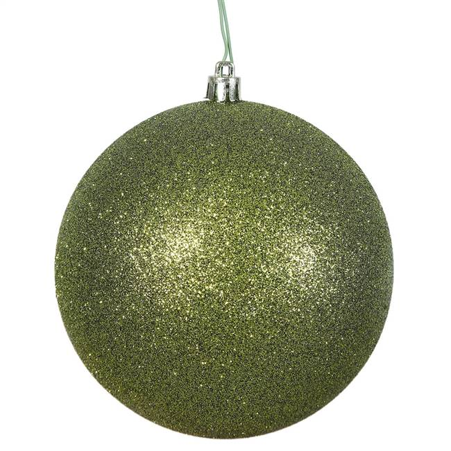"4"" Olive Glitter Ball Drilled 6/Bag"