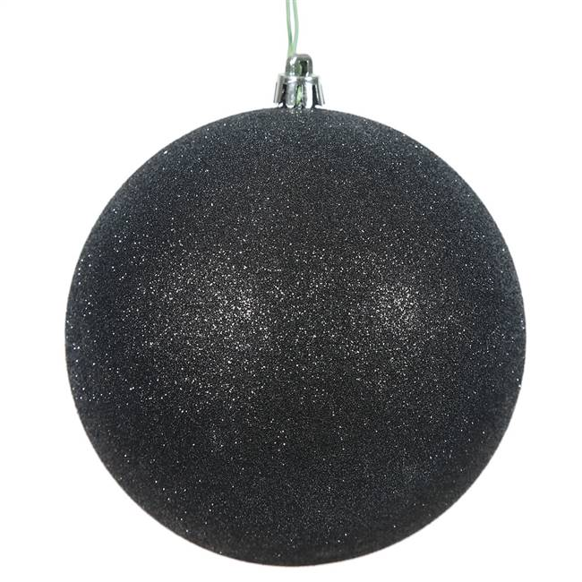 "4"" Black Glitter Ball Drilled 6/Bag"