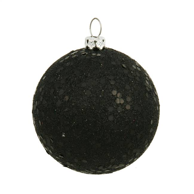 "4"" Black Sequin Ball Drilled 6/Bag"
