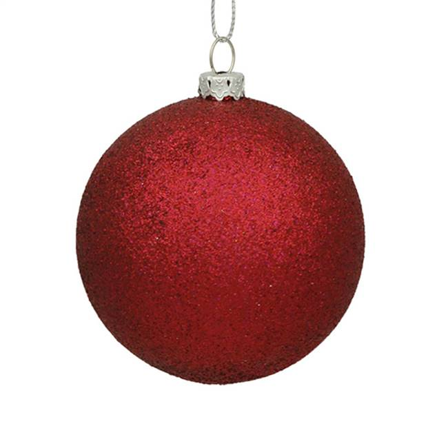 "4"" Wine Glitter Ball Drilled 6/Bag"