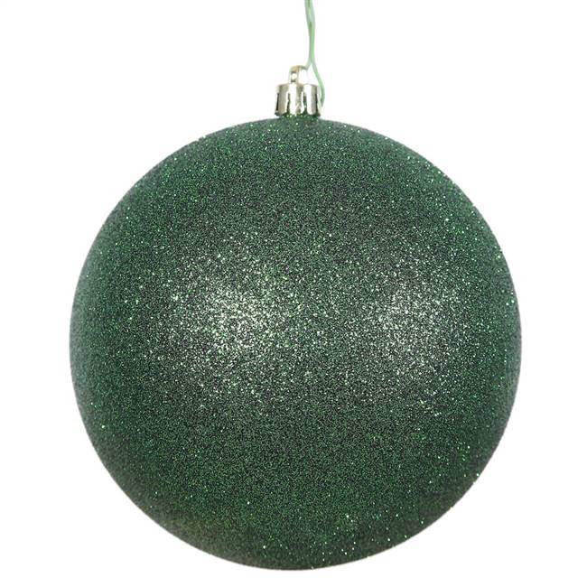 "4"" Emerald Glitter Ball Drilled 6/Bag"