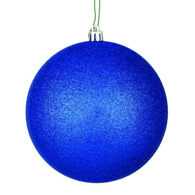 "4"" Midnt Blue Glitter Ball Drilled 6/Bag"