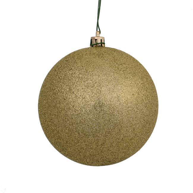 "4"" Champagne Glitter Ball Drilled 6/Bag"