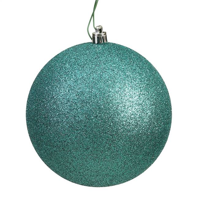 "4"" Seafoam Glitter Ball Drilled 6/Bag"