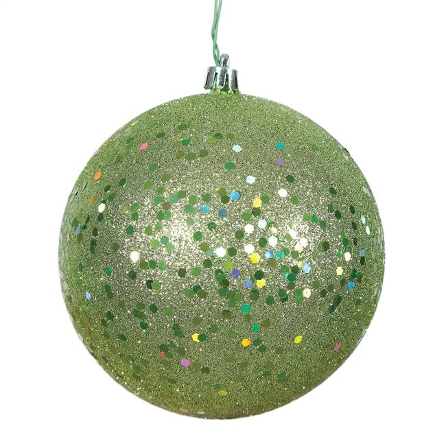 "4"" Celadon Sequin Ball Drilled 6/Bag"
