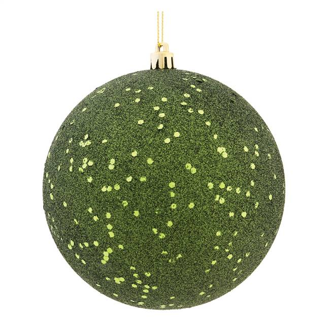 "4"" Moss Green Sequin Ball Drilled 6/Bag"
