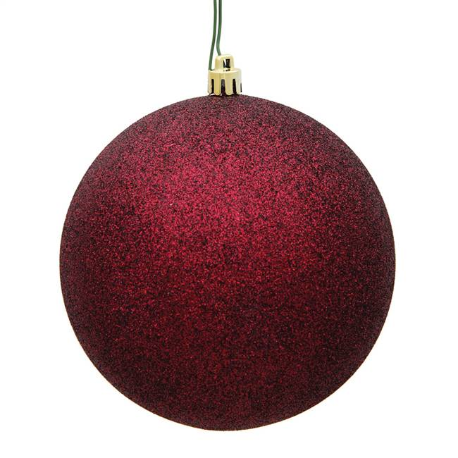 "4"" Burgundy Glitter Ball Drilled 6/Bag"