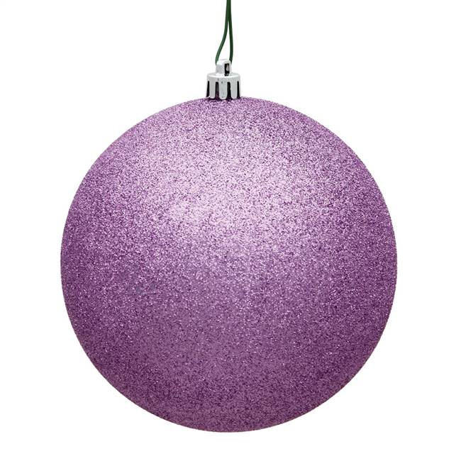 "4"" Orchid Glitter Ball Drilled 6/Bag"