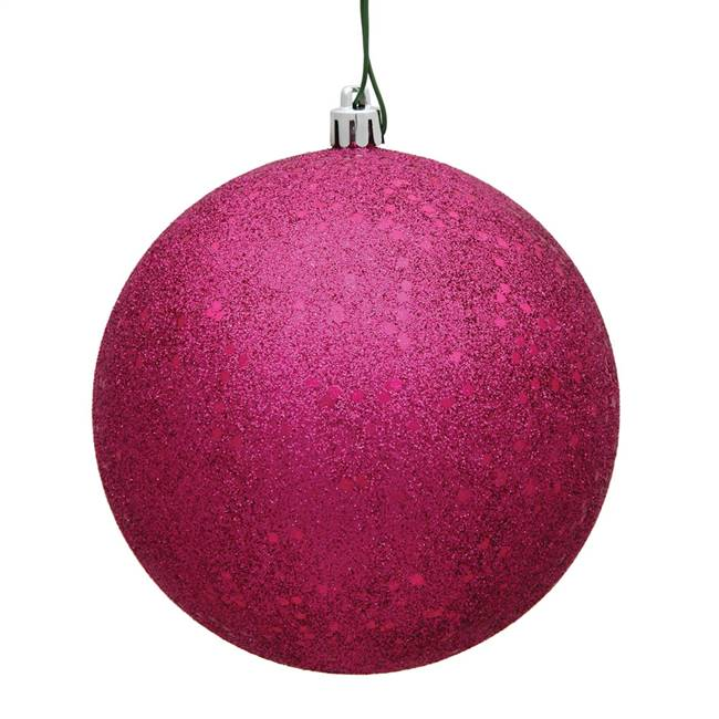 "4"" Fuchsia Sequin Ball Drilled 6/Bag"