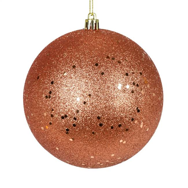 "4"" Coral Sequin Ball Drilled 6/Bag"