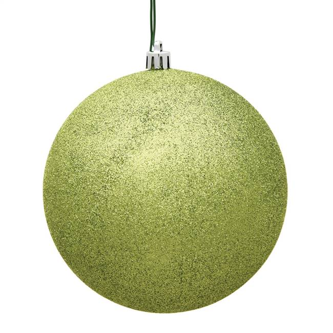 "4"" Lime Glitter Ball Drilled 6/Bag"