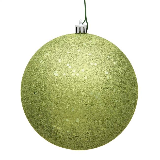 "4"" Lime Sequin Ball Drilled 6/Bag"
