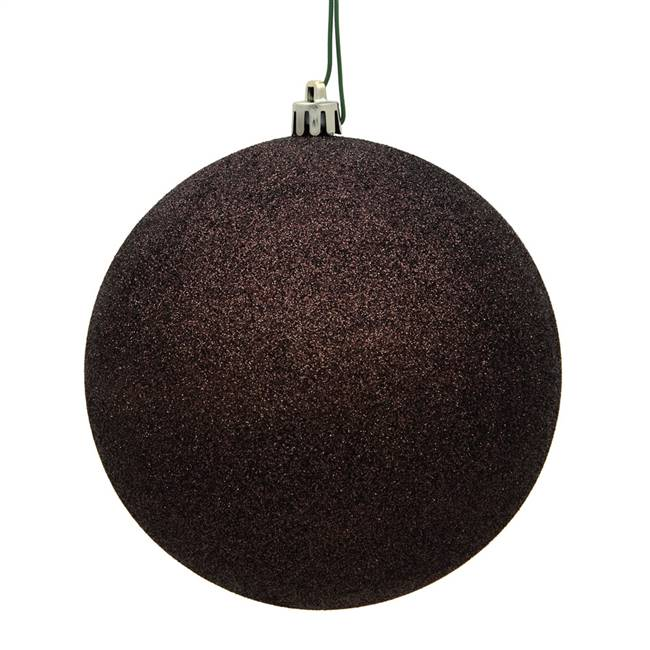 "4"" Chocolate Glitter Ball Drilled 6/Bag"