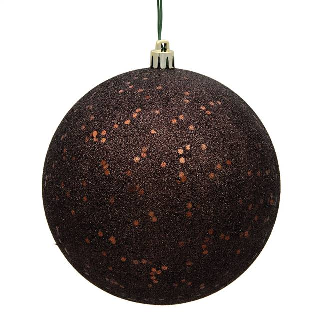 "4"" Chocolate Sequin Ball Drilled 6/Bag"